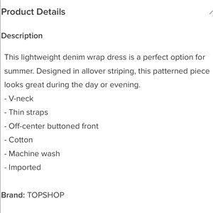 Topshop Dresses - NWT Topshop Denim Wrap Dress